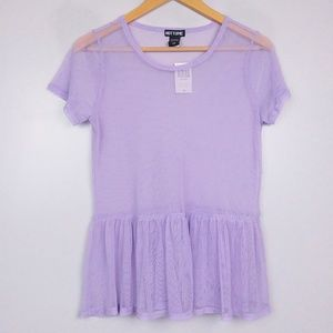 NWT Hot Topic Lavender Mesh Ruffle Hem Shirt